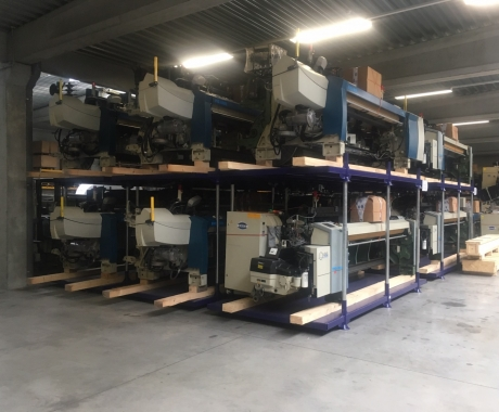 Robuuste opslagpallet voor Unica Textile Machinery
